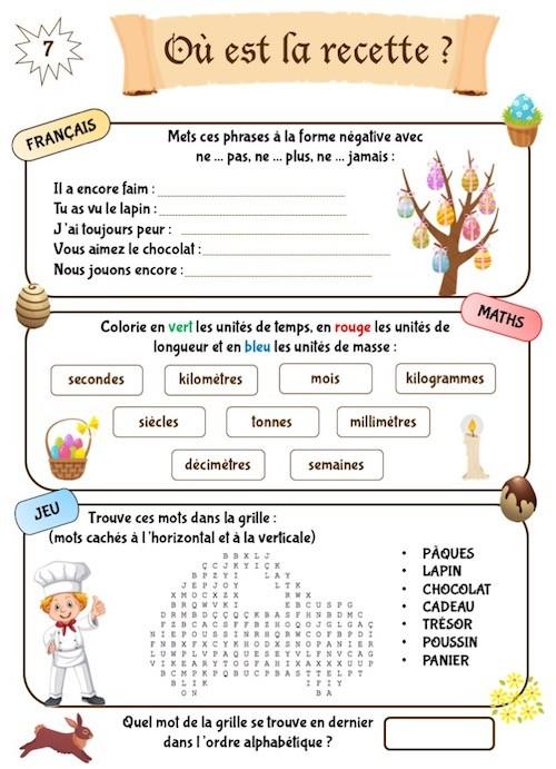 Cahier de jeux enfant à imprimer pour Pâques CE1-CE2