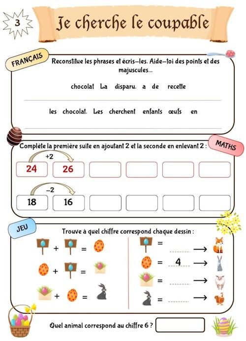 Cahier d'exercices et de jeux, thème Pâques