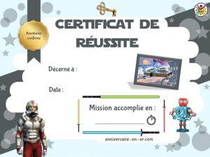 certificat de réussite escape game enfant pour anniversaire star wars