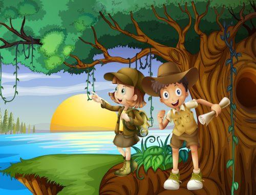 chasse au trésor dans la jungle