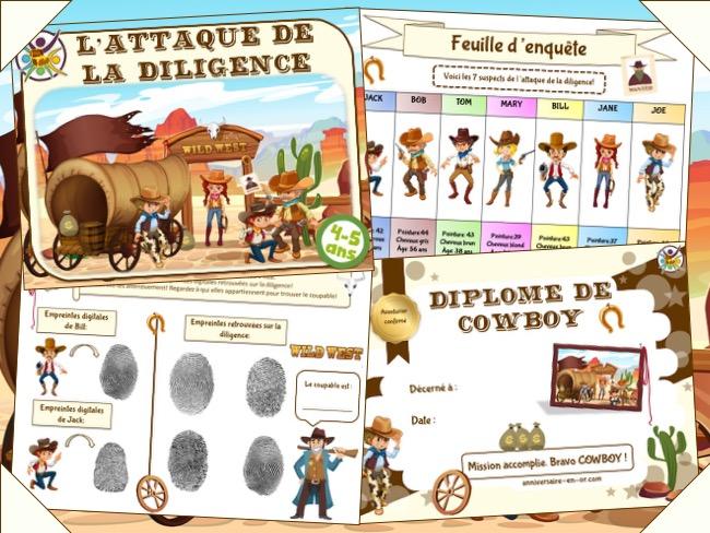 chasse au trésor Cowboy pour enfants de 4-5 ans