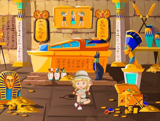 Animation de chasse au trésor en Egypte