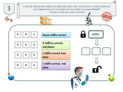 code à 3 chiffres pour escape game, thème laboratoire clandestin