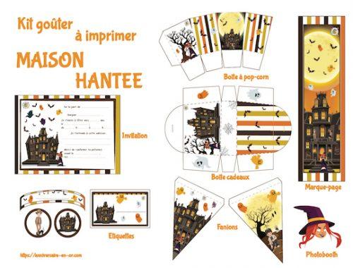 Kit de décoration anniversaire à imprimer thème maison hantée