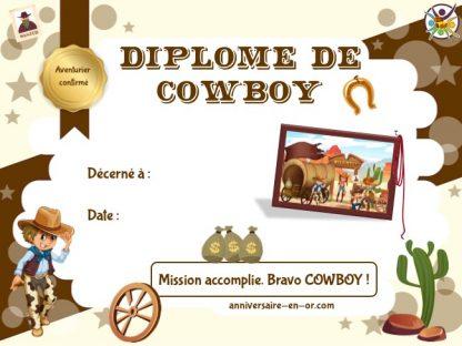 Diplôme de cowboy à imprimer pour chasse au trésor au Far West