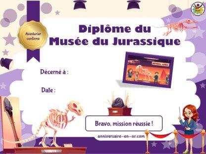 Diplôme à imprimer dinosaure