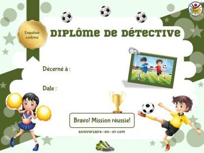 Diplôme de détective pour jeu d'enquête football