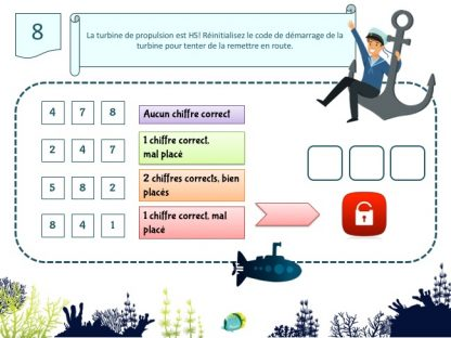 Kit escape game pour enfants de 6 et 7 ans thème océan