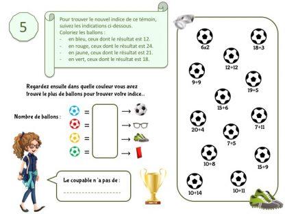 Indice pour jeu d'enquête football 6-7 ans