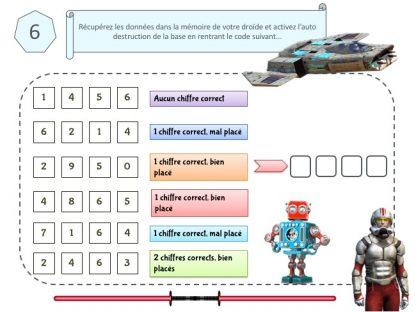 Enigme et code pour jeu anniversaire star wars