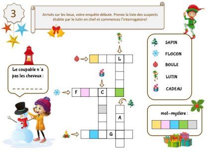 Énigme pour grand jeu de Noël maternelle : enquête à imprimer