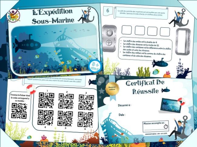 Jeu escape game expédition sous-marine enfant 8-9 ans