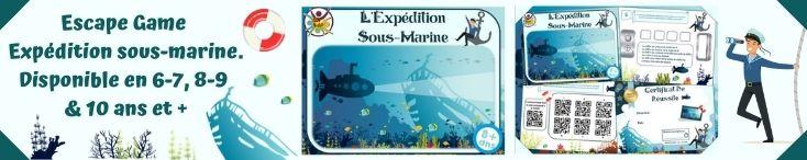 Escape game pour enfants à imprimer dans un sous-marin