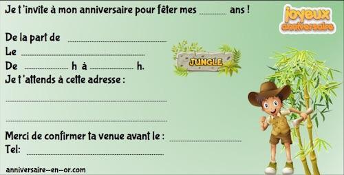 invitation pour anniversaire de chasse au trésor dans la jungle
