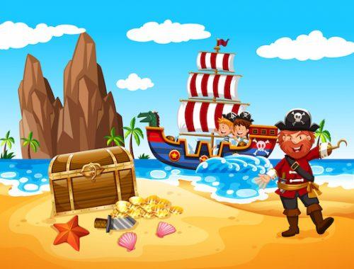 Animation de chasse au trésor pirate sous forme de jeu à imprimer