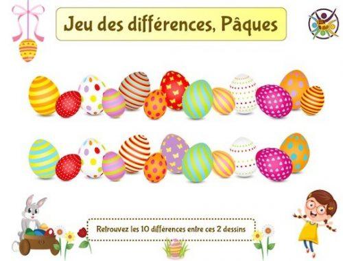 jeu des différences thème oeufs de Pâques