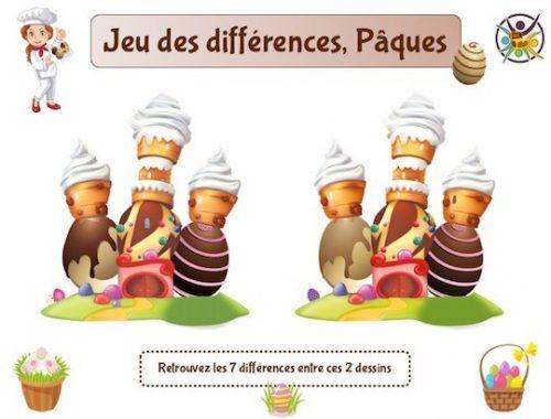 Le jeu des différences thème Pâques