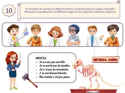 Enigme et enquête pour enfants de 6 et 7 ans sur les dinosaures