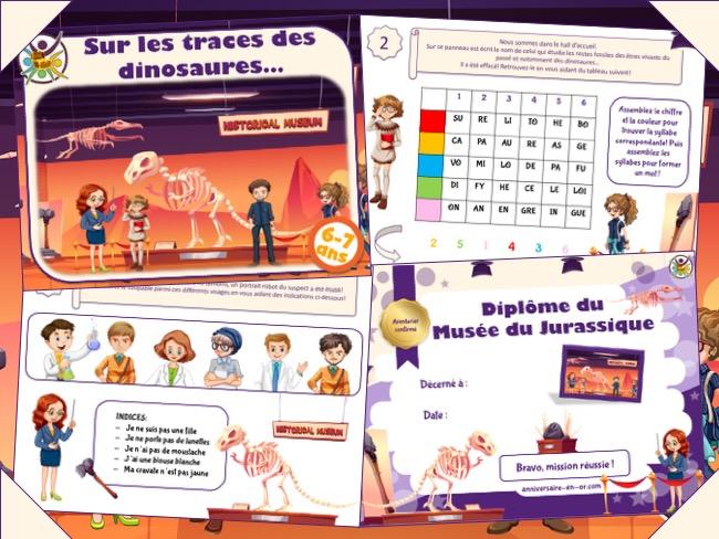 Jeu d'enquête pour enfants de 6-7 ans sur le thème des dinosaures