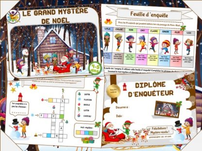 Grand jeu de Noël pour enfants de maternelle sous forme d'enquête