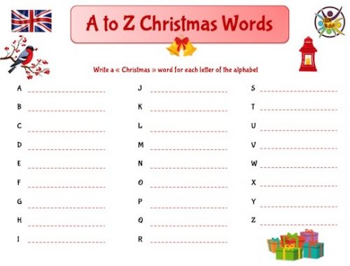 jeu à imprimer pour apprendre le vocabulaire de Noël en anglais
