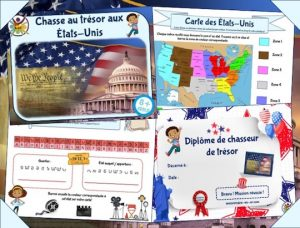 jeu à imprimer de chasse au trésor aux Etats-Unis pour enfants à partir de 9 ans