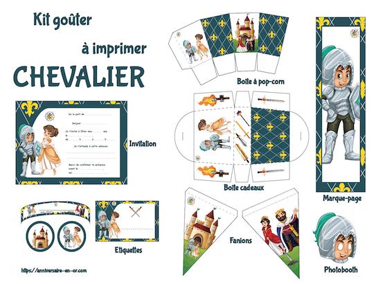 Kit de décoration enfant pour anniversaire à imprimer, thème chevalier