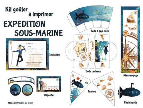 Décoration à thème pour anniversaire enfant à imprimer : expédition sous-marine