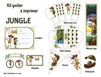 Kit de décoration anniversaire enfant à imprimer thème jungle