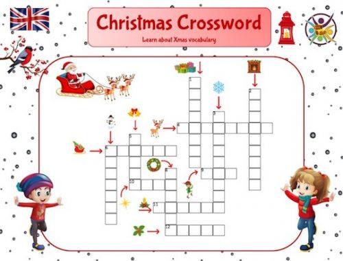 Mots croisés de Noël pour apprendre le vocabulaire en anglais