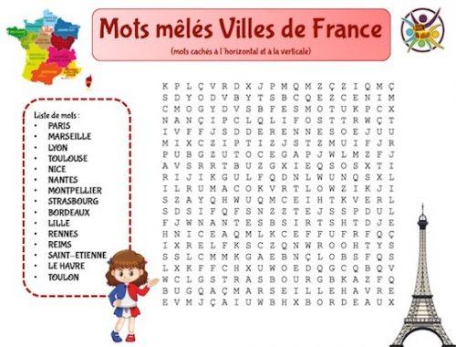 Mots mêlés des 15 plus grandes villes de France