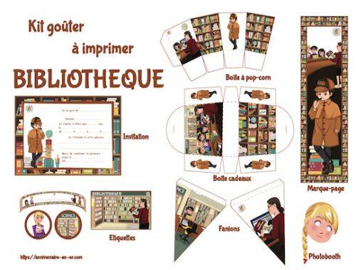 Kit de décoration anniversaire à imprimer thème bibliothèque