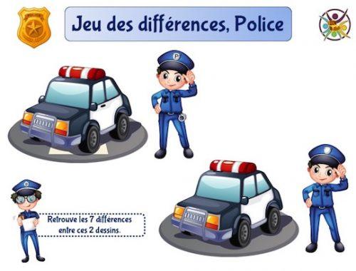 Jeu des différences thème police