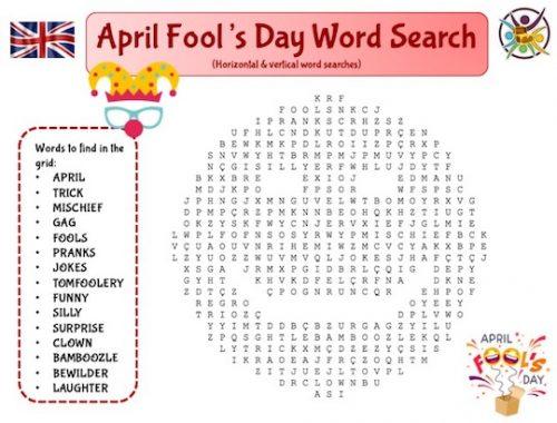 Mots mêlés en anglais sur le thème du 1er avril