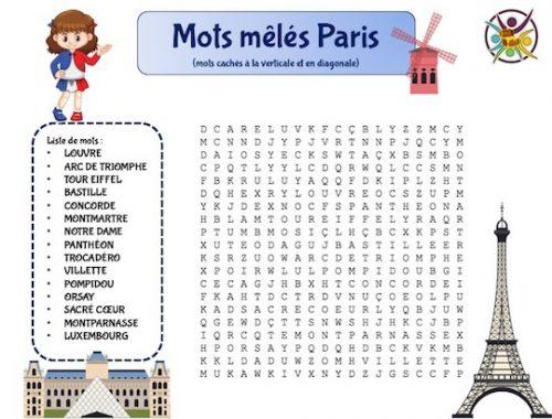 Mots mêlés sur Paris et ses monuments