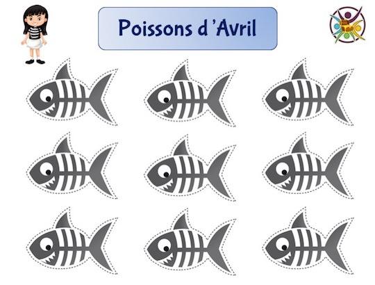 activités de poissons d'Avril à imprimer et à découper