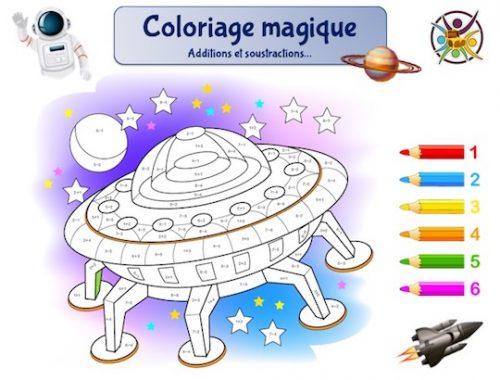 coloriage magique espace