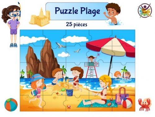 Puzzle à imprimer sur l'été et la plage