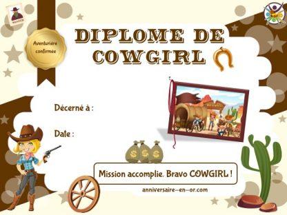 Diplôme de cowgirl pour animation anniversaire