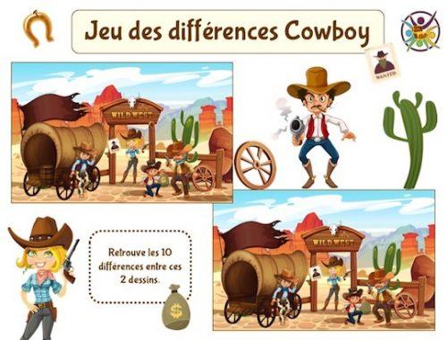 Jeu des différences cowboy