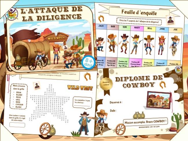 Kit de jeu d'enquête pour anniversaire Cowboy
