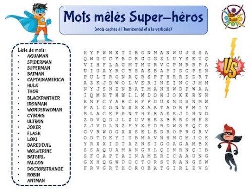 mots mêlés super-héros