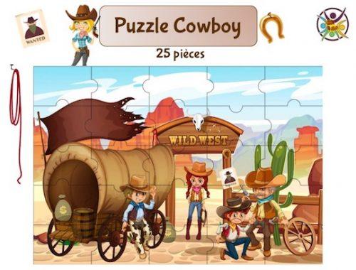 puzzle à imprimer cowboy