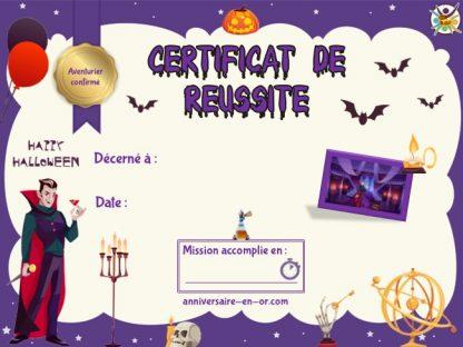 Diplôme pour escape game Halloween