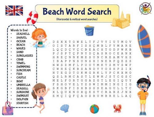 mots mêlés de la plage en anglais