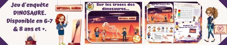 jeu enquête dinosaure à imprimer