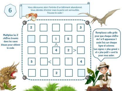 code secret pour jeu d'évasion dinosaure
