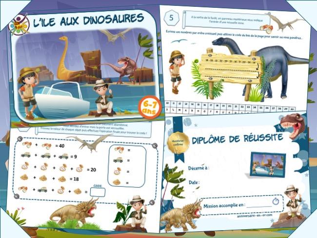 Kit escape game dinosaure 6-7 ans