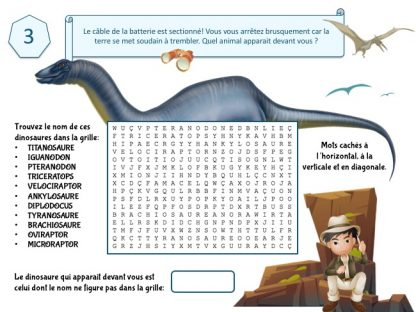 mots mêlés escape game dinosaure