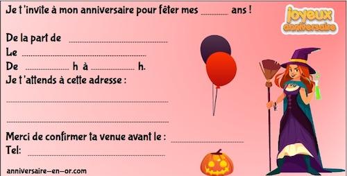 Invitation à imprimer pour Halloween